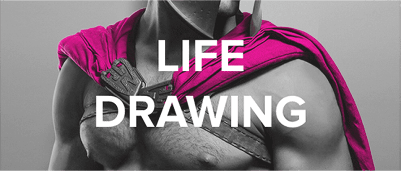 Muscular man poses in Greek costume as a life drawing model