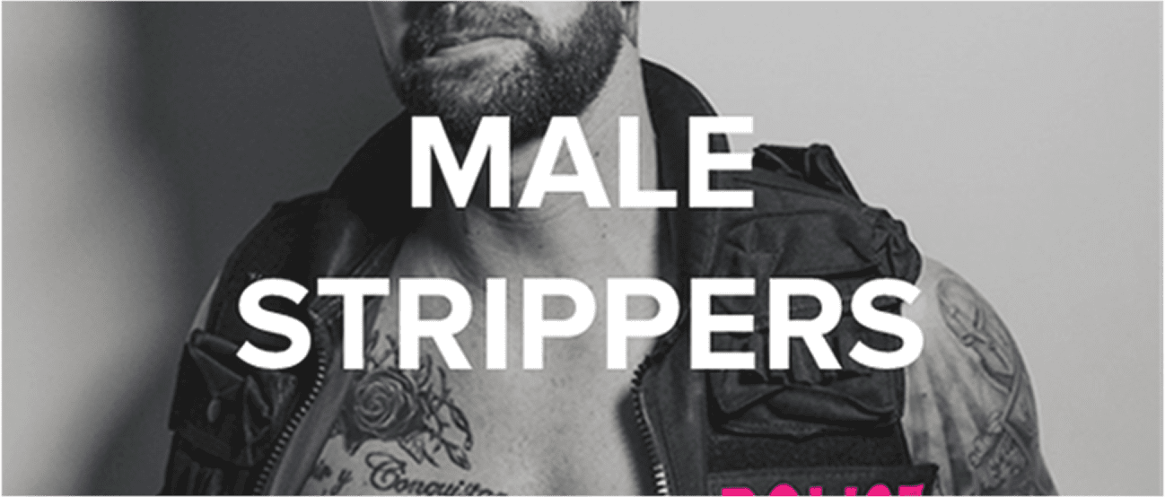 Male stripper poses in a police outfit, with the words male strippers